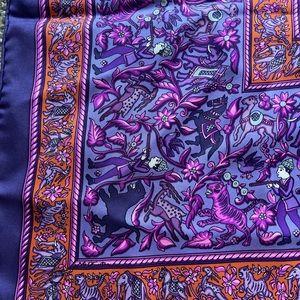 HERMES Chasse En Inde Silk Scarf Purple France